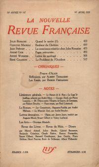 La Nouvelle Revue Française N' 187 (Avril 1929)