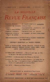 La Nouvelle Revue Française N' 99 (Décembre 1921)