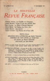 La Nouvelle Revue Française N' 170 (Novembre 1927)