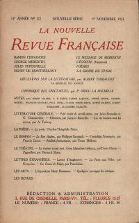 La Nouvelle Revue Française N' 122 (Novembre 1923)