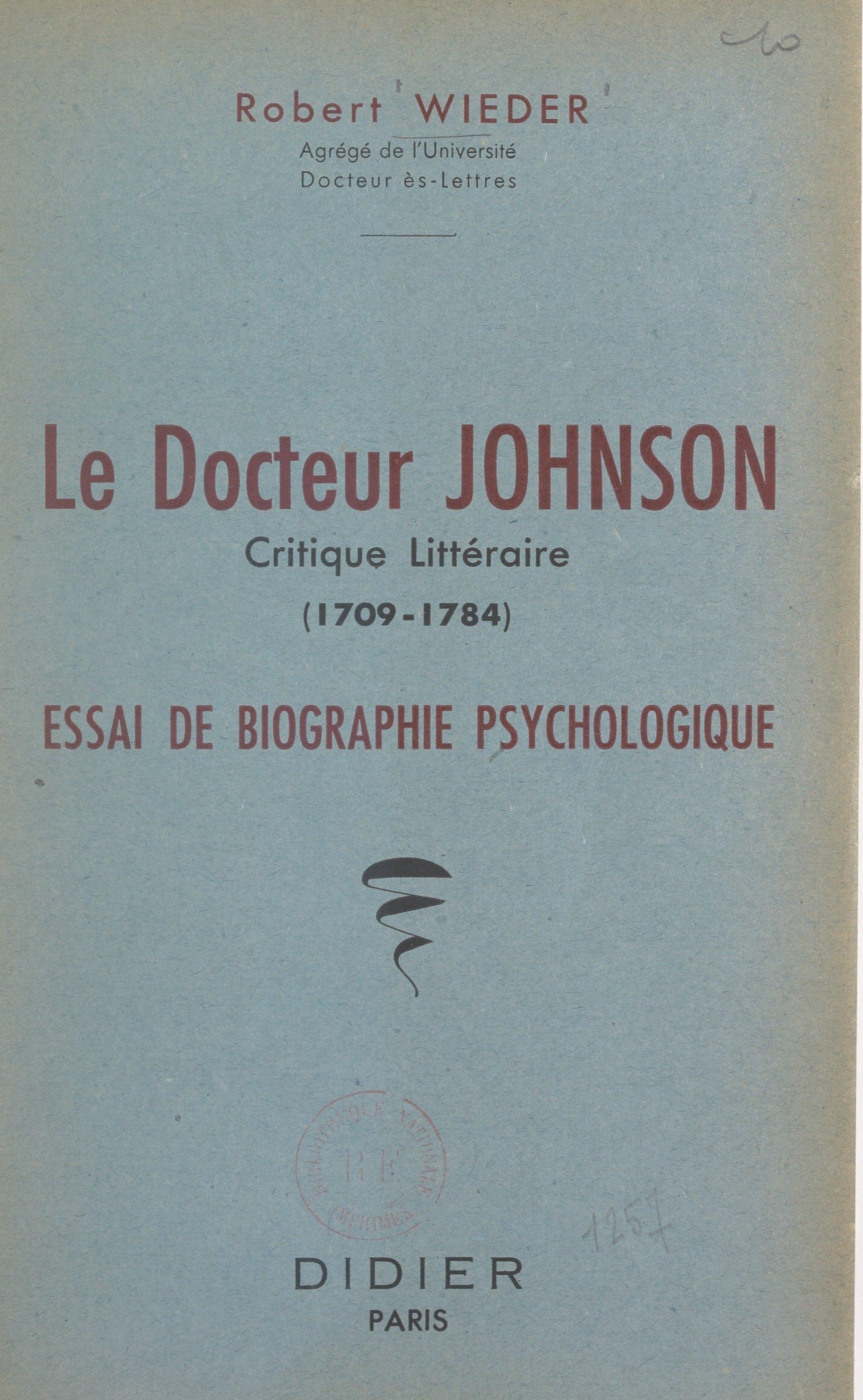 Le Docteur Johnson, critiqu...