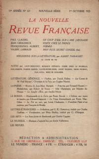 La Nouvelle Revue Française N' 121 (Octobre 1923)