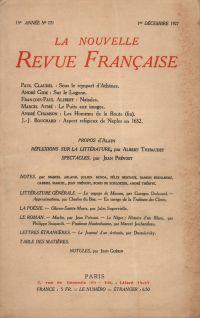 La Nouvelle Revue Française N' 171 (Décembre 1927)