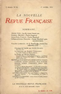La Nouvelle Revue Française N' 52 (Avril 1913)