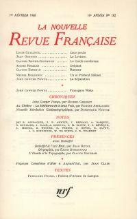 La Nouvelle Revue Française N' 182 (Février 1968)