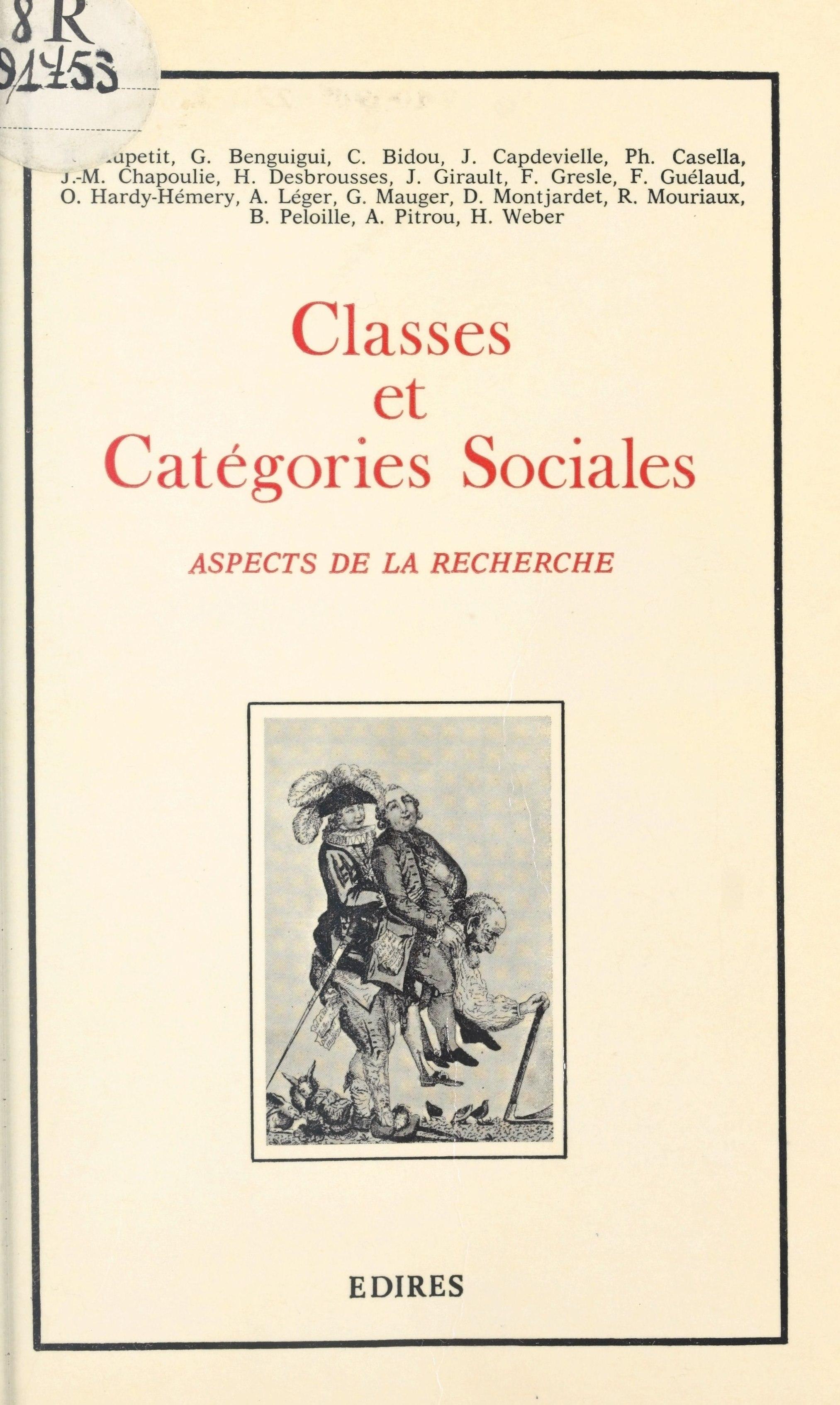 Classes et catégories sociales : aspects de la recherche