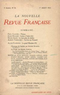 La Nouvelle Revue Française N' 56 (Aoűt 1913)