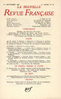 La Nouvelle Revue Française N' 93 (Septembre 1960)