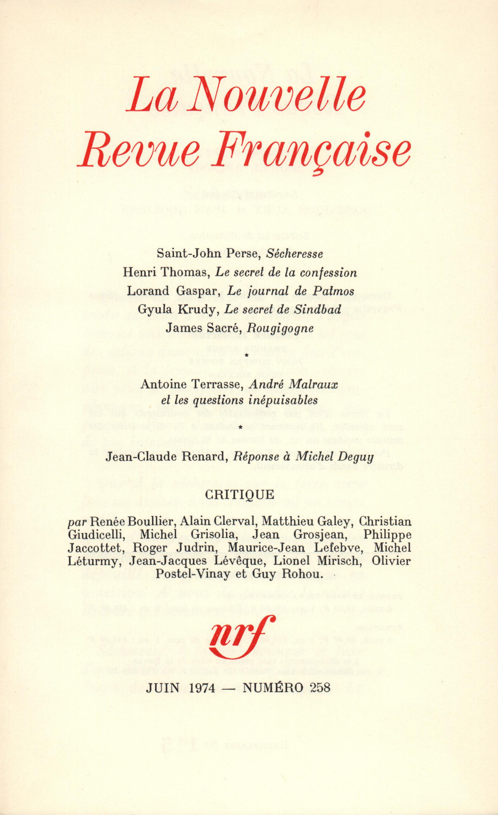 La Nouvelle Revue Française N° 258