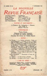 La Nouvelle Revue Française N° 255 (Décembre 1934)