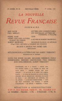 La Nouvelle Revue Française N' 91 (Avril 1921)