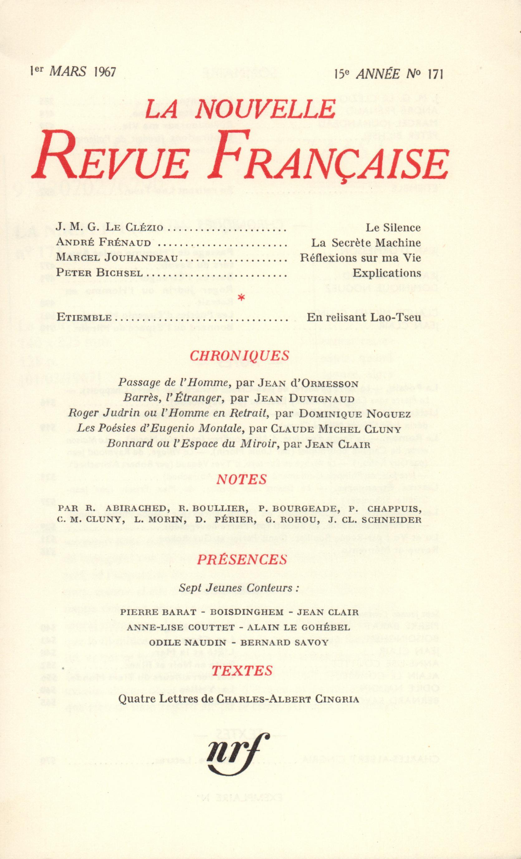 La Nouvelle Revue Française N' 171 (Mars 1967)