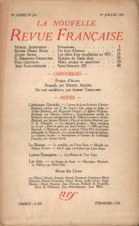 La Nouvelle Revue Française N' 214 (Juillet 1931)