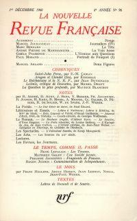 La Nouvelle Revue Française N' 96 (Décembre 1960)