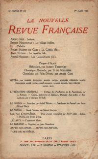 La Nouvelle Revue Française N' 177 (Juin 1928)