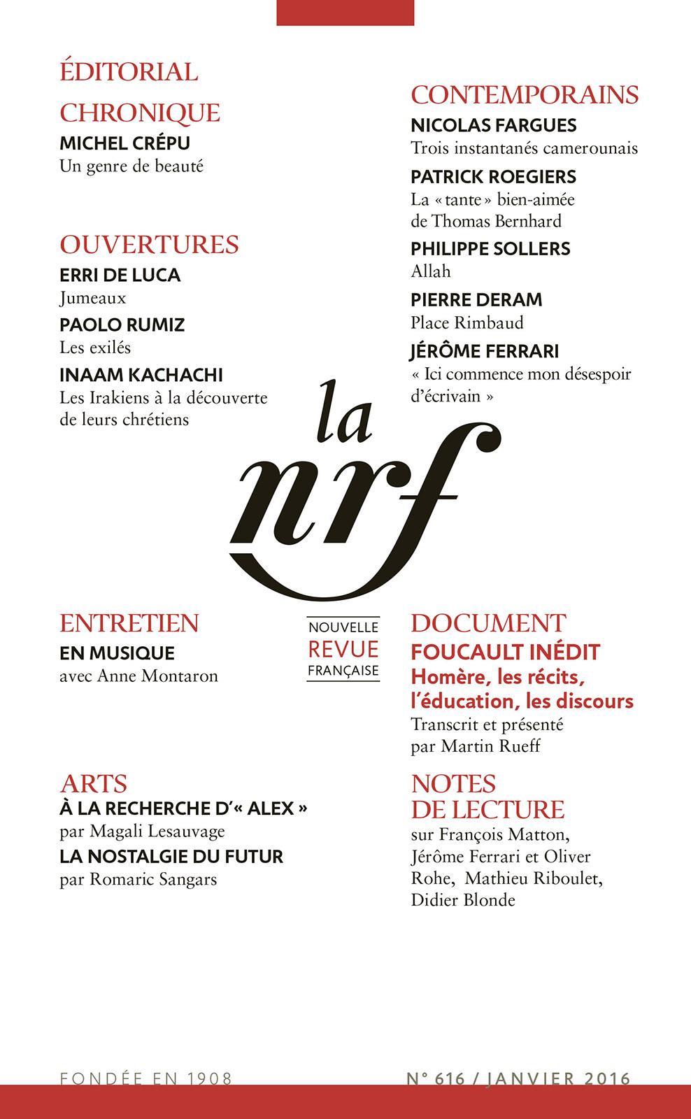 La Nouvelle Revue Française N° 616