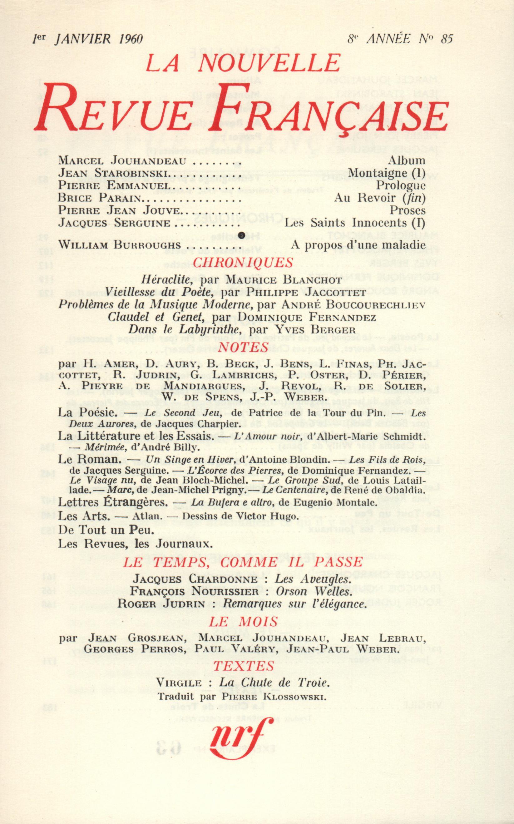 La Nouvelle Revue Française N' 85 (Janvier 1960)