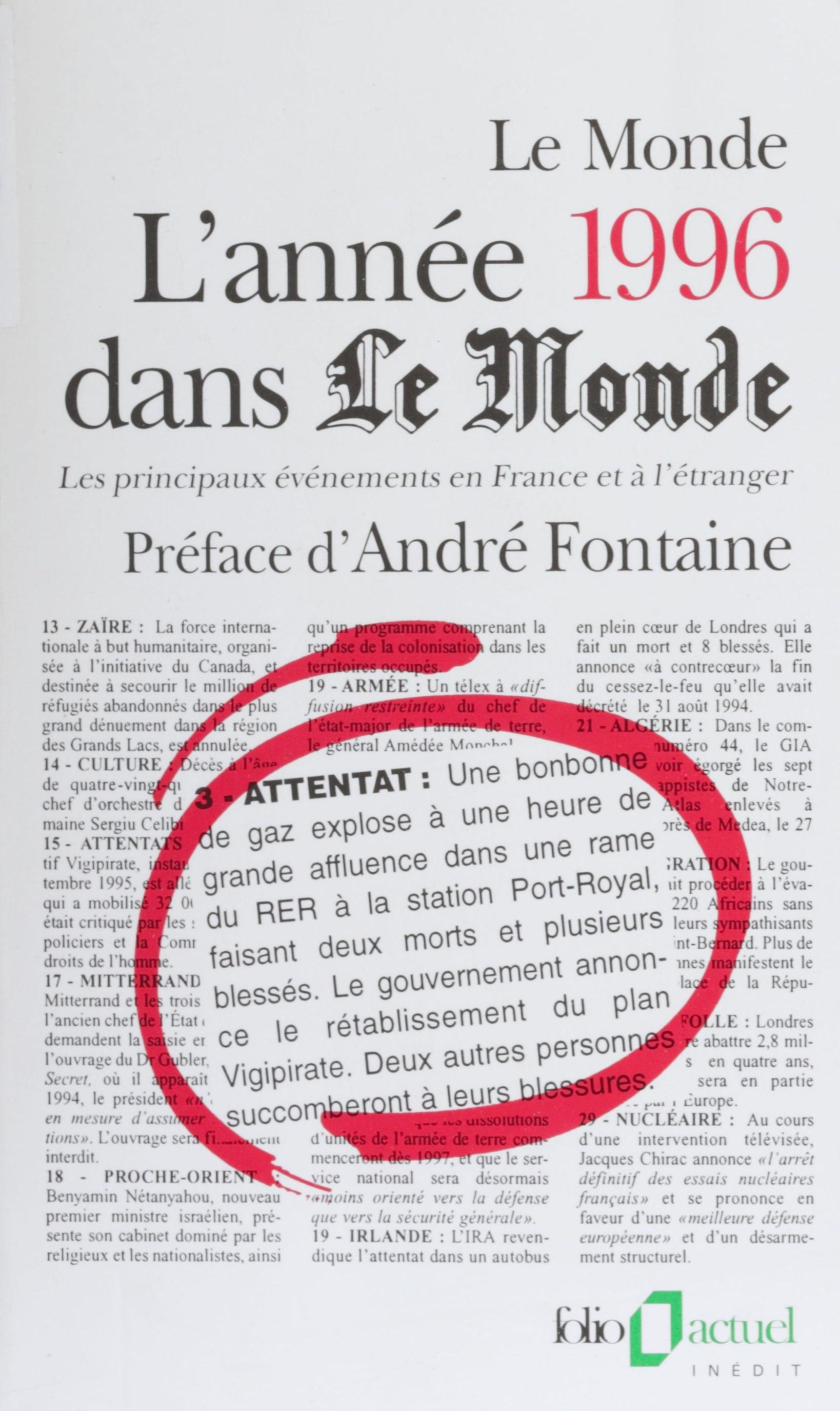 L'année 1996 dans «Le Monde»