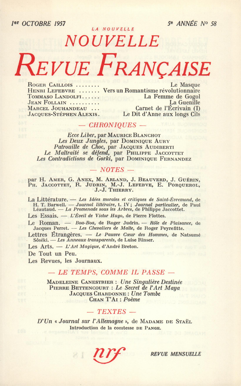 La Nouvelle Nouvelle Revue Française N' 58 (Octobre 1957)
