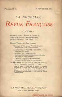La Nouvelle Revue Française N' 47 (Novembre 1912)