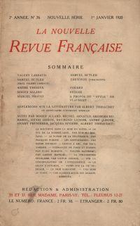 La Nouvelle Revue Française N' 76 (Janvier 1920)