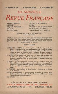 La Nouvelle Revue Française N' 134 (Novembre 1924)