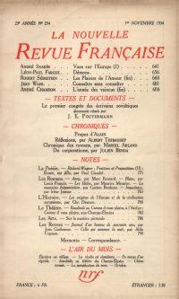La Nouvelle Revue Française N° 254 (Novembre 1934)