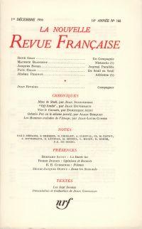 La Nouvelle Revue Française N' 168 (Décembre 1966)