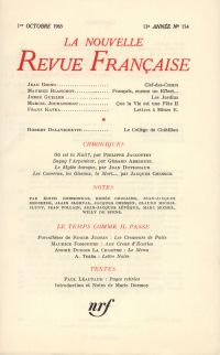 La Nouvelle Revue Française N' 154 (Octobre 1965)