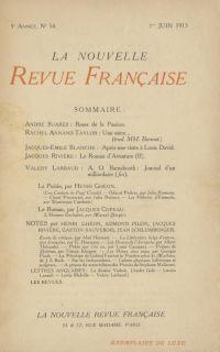 La Nouvelle Revue Française N' 54 (Juin 1913)
