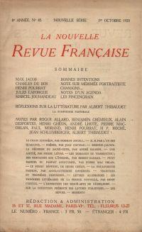 La Nouvelle Revue Française N' 85 (Octobre 1920)