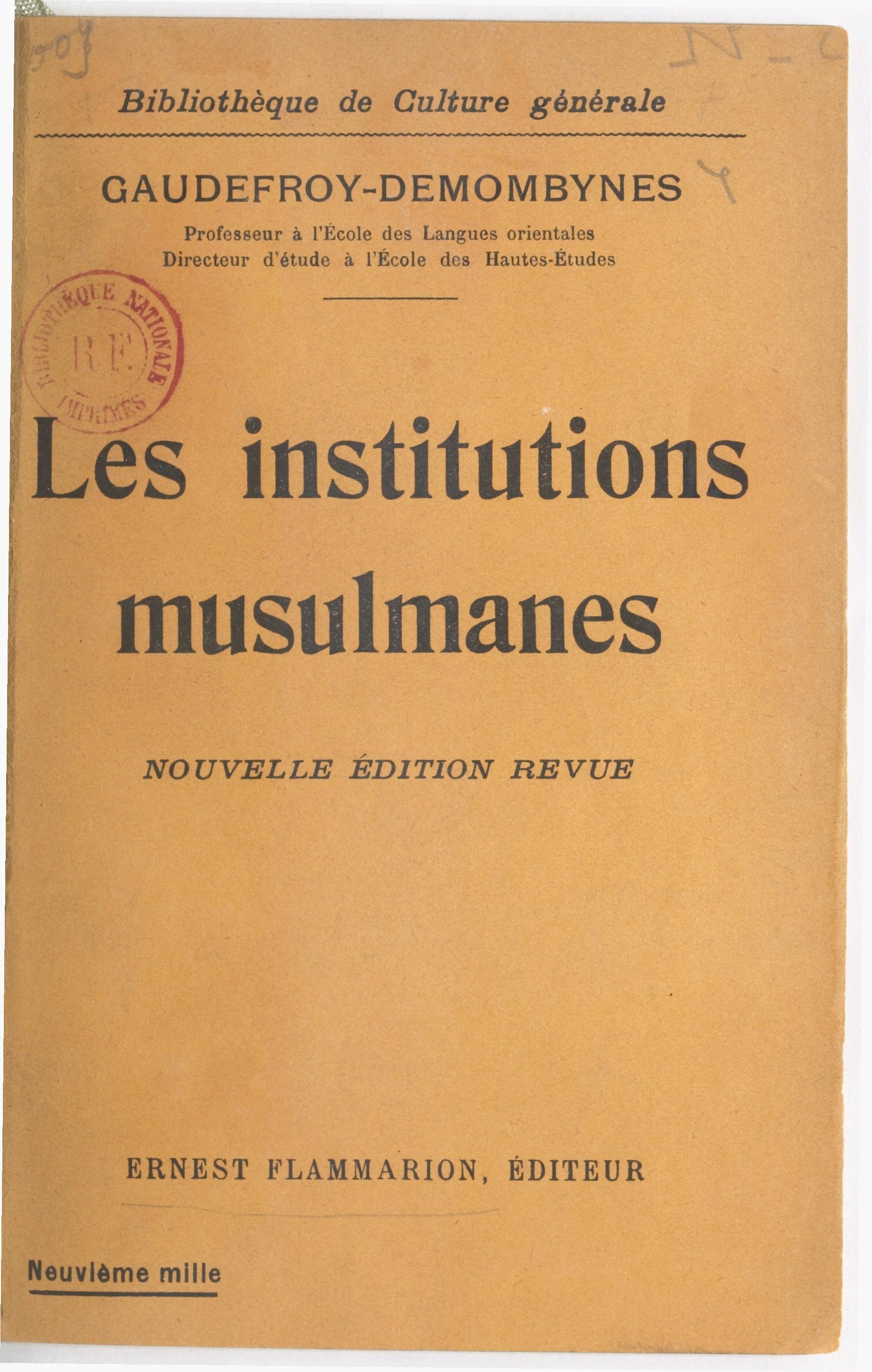 Les institutions musulmanes