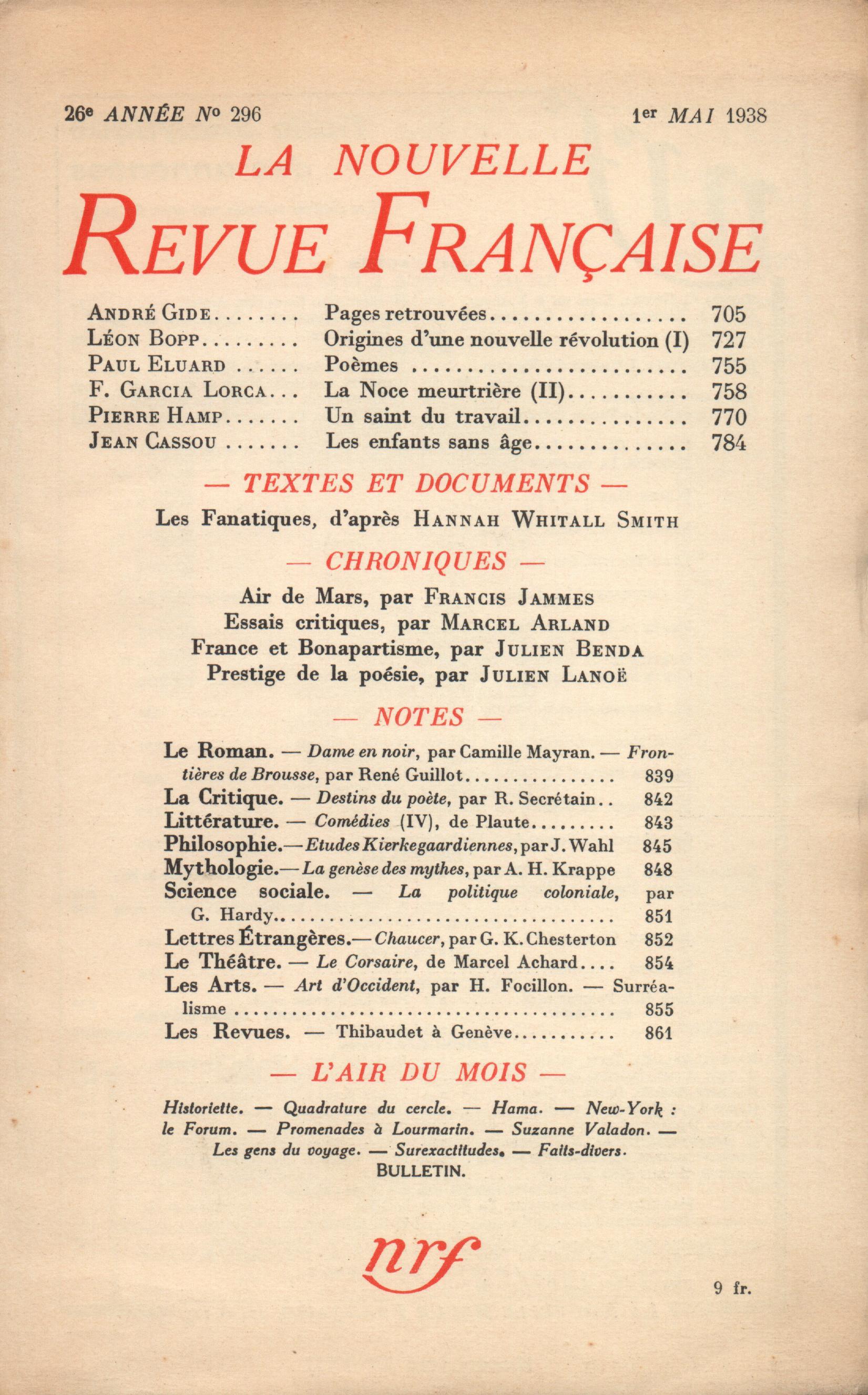 La Nouvelle Revue Française N° 296 (Mai 1938)