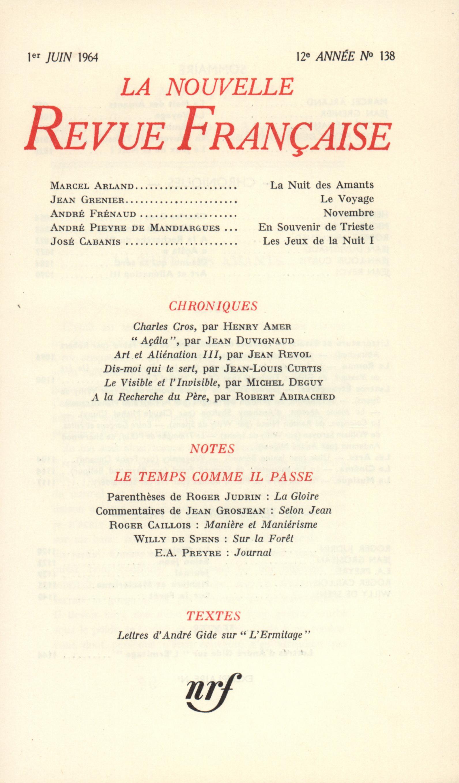 La Nouvelle Revue Française N' 138 (Juin 1964)