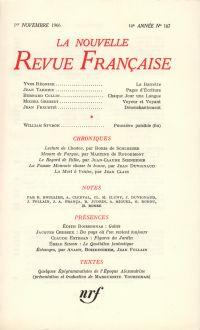 La Nouvelle Revue Française N' 167 (Octobre 1966)
