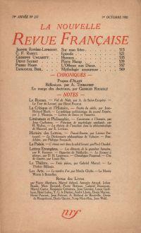 La Nouvelle Revue Française N' 217 (Octobre 1931)