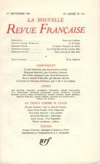 La Nouvelle Revue Française N' 153 (Septembre 1965)
