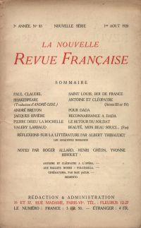 La Nouvelle Revue Française N' 83 (Aoűt 1920)