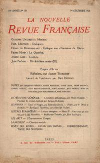 La Nouvelle Revue Française N' 183 (Décembre 1928)