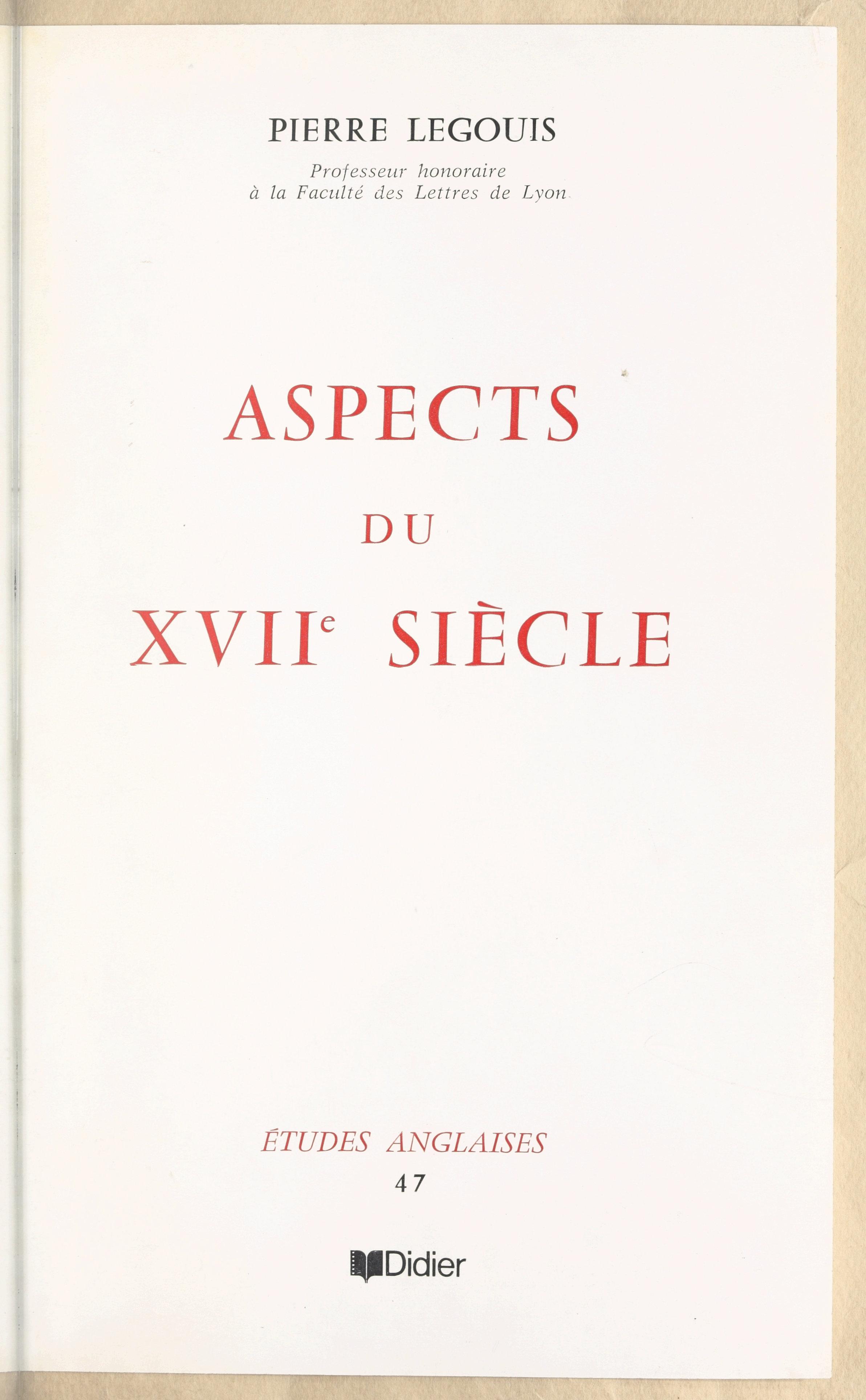 Aspects du XVIIe siècle