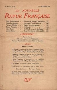 La Nouvelle Revue Française N' 207 (Décembre 1930)