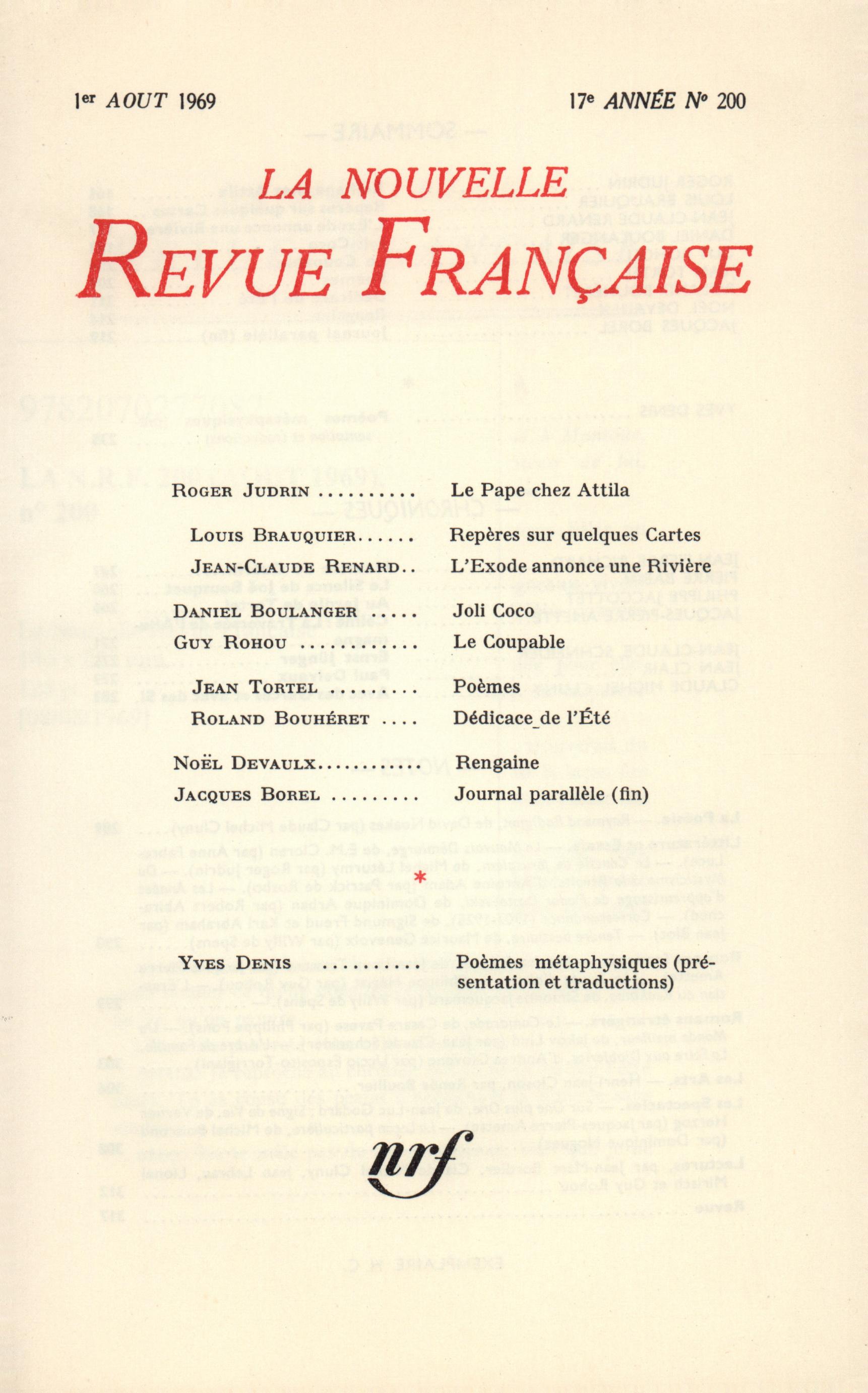 La Nouvelle Revue Française n° 200 (Août 1969)