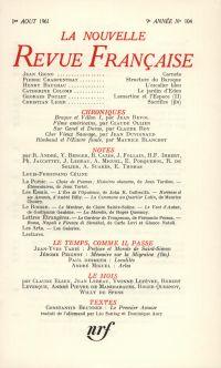 La Nouvelle Revue Française N' 104 (Aoűt 1961)