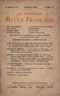 La Nouvelle Revue Française N' 114 (Mars 1923)