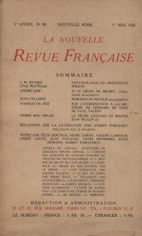 La Nouvelle Revue Française N' 80 (Mai 1920)