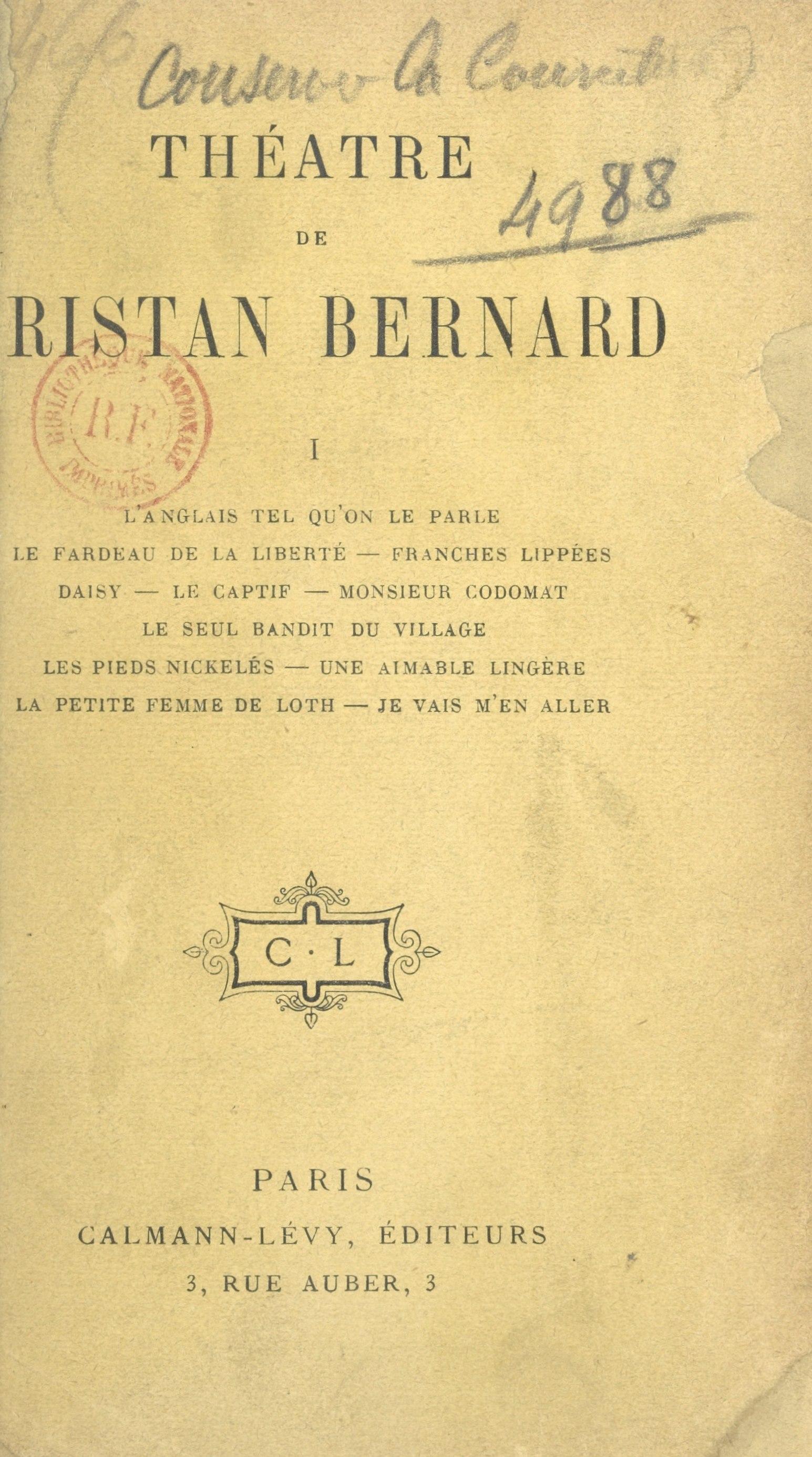 Théâtre de Tristan Bernard (1)