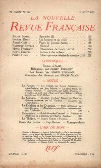 La Nouvelle Revue Française N° 263 (Aoűt 1935)