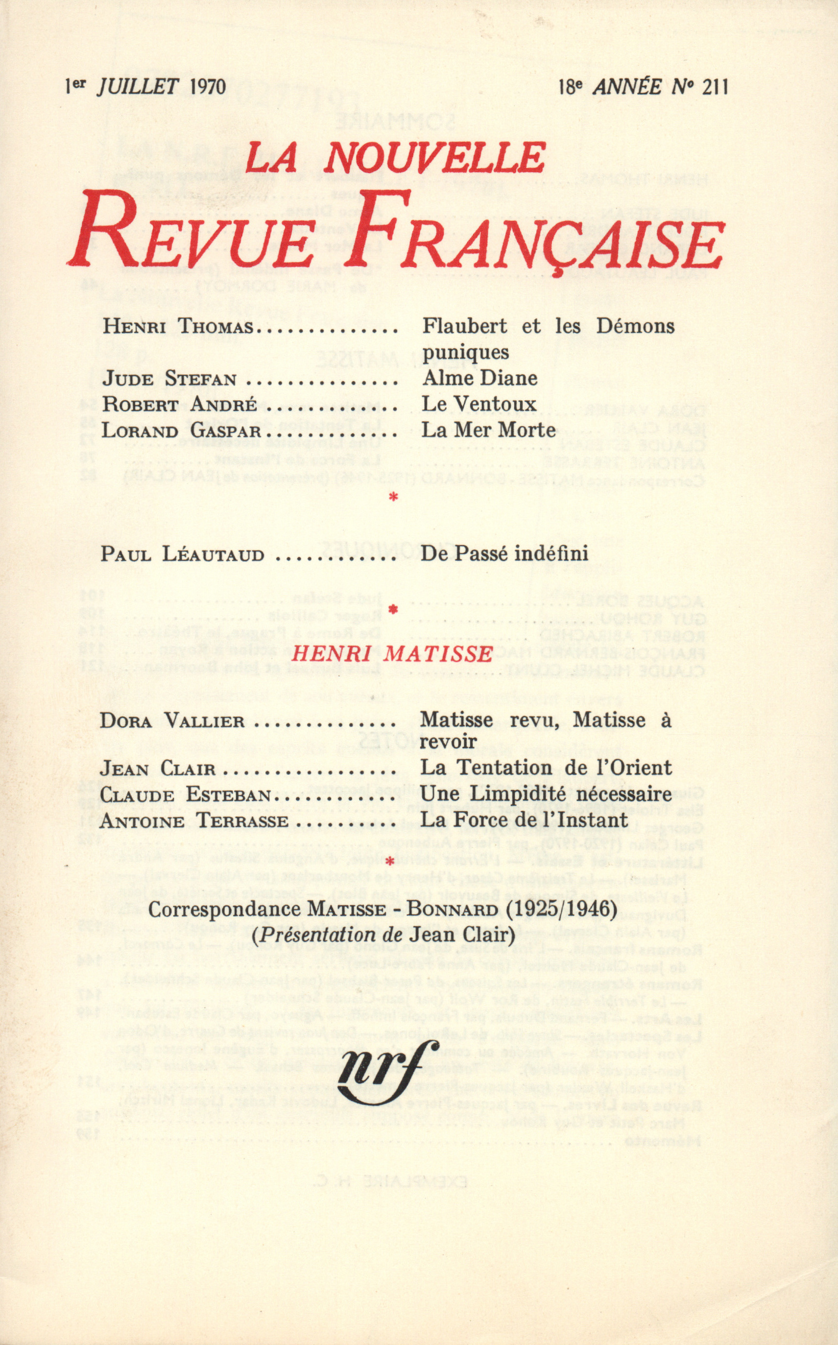 La Nouvelle Revue Française N° 211