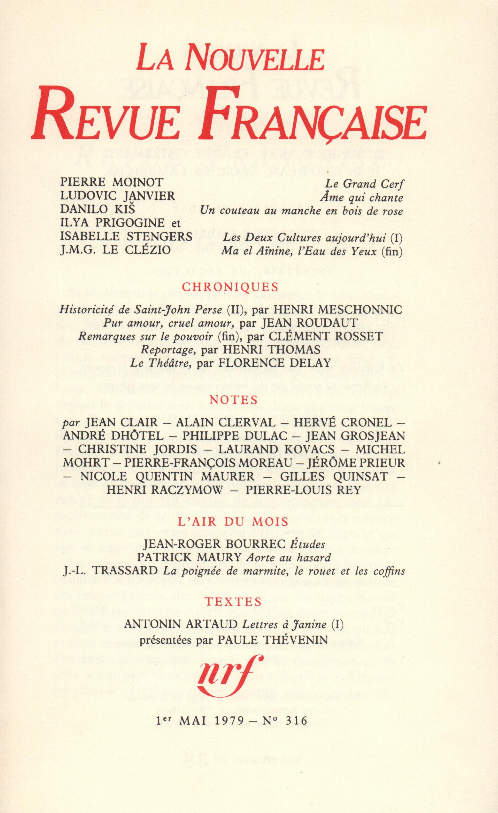 La Nouvelle Revue Française N° 316