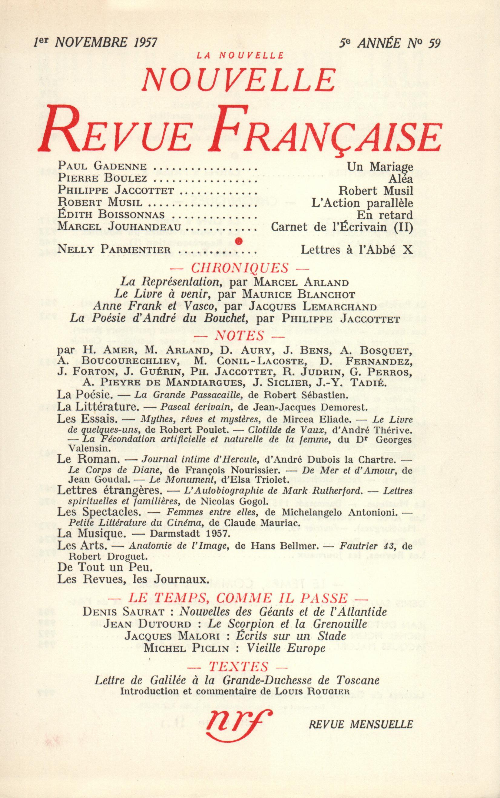 La Nouvelle Nouvelle Revue Française N' 59 (Novembre 1957)